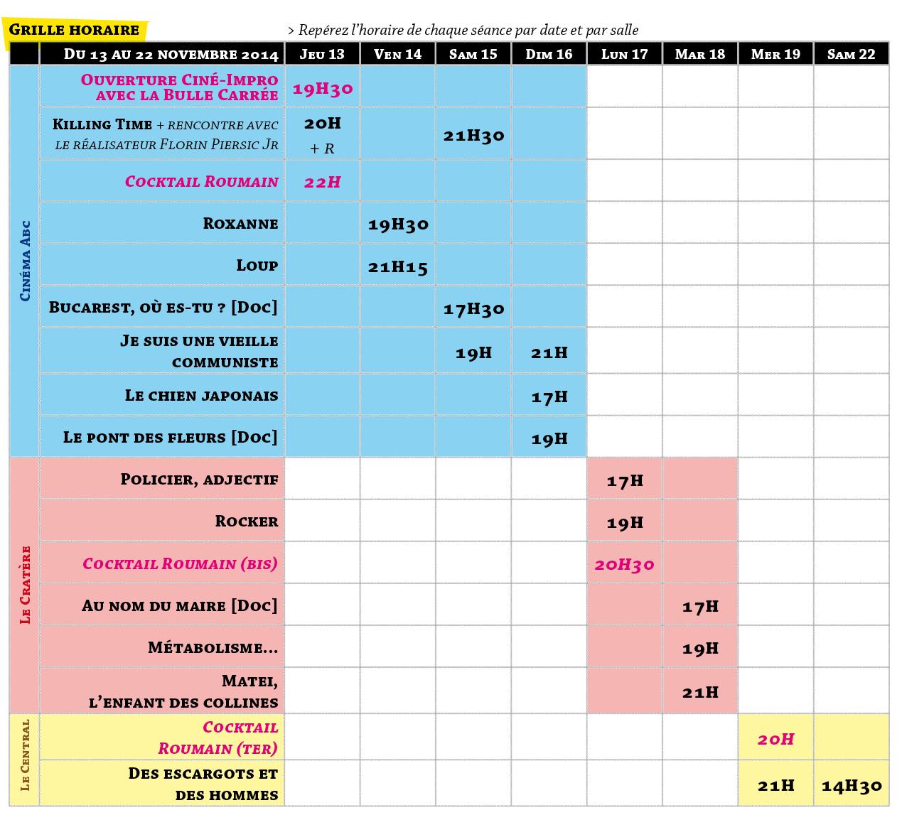 Grille horaire des séances du 13 au 22 novembre 2014